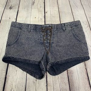 FREE PEOPLE Lace Up Fly Denim Shorts 8